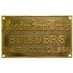 Risdon Iron Works Metal Plaque