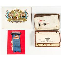Three Antique Items: Ribbon, Cigar Label, Fly Book