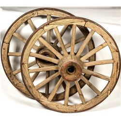 Two Magnificent Freight Wagon Wheels
