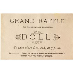 Original Grand Raffle Ticket for a Beautiful Doll - Spectacular