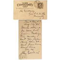 Tombstone Postal Card to a Governor from a Prominent Attorney
