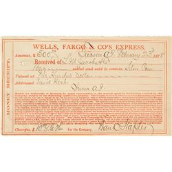 Wells Fargo Express Receipt for a Bag of $500 Worth of Silver Coin (Arizona Territory)
