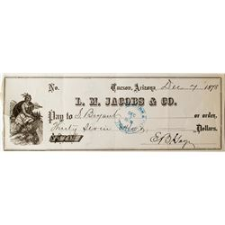 L.M. Jacobs Check from EB Gage (mining) to S. Bryant (friend of Wyatt Earp)