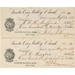 Two Arizona Territory Checks Signed by Two Governors