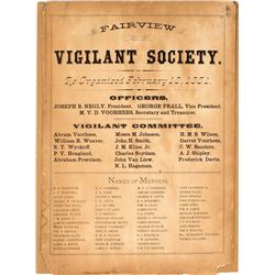 Spectacular Fairview Vigilant Society Broadside (Illinois)