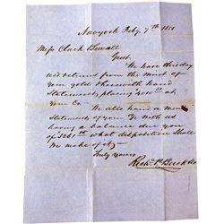 1851 Letter Discussing Gold Dust Sent
