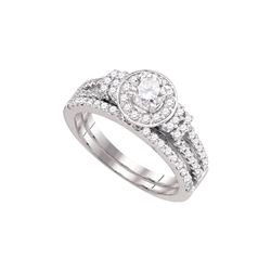Natural 1.0 ctw Diamond Bridal Set Ring 14K White Gold - GD72555-REF#198R2K