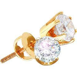 Genuine 1 CTW Diamond Stud Earrings 14KT Yellow Gold - GD11447-REF#152V8A