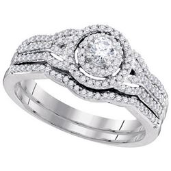 Natural 0.50 ctw Diamond Bridal Set Ring 10K White Gold - GD98605-REF#68M4G