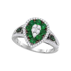 Genuine 1.25 CTW Emerald & Diamond Ladies Ring 18KT White Gold - GD107862-REF#198G2M