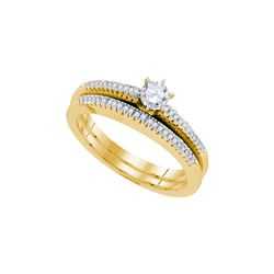 Natural 0.33 ctw Diamond Bridal Set Ring 10K Yellow Gold - GD92196-REF#66T6Z
