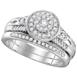 Natural 0.38 ctw Diamond Bridal Set Ring 10K White Gold - GD106195-REF#62R9K