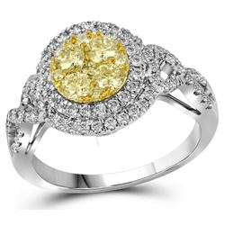 Genuine 1 CTW White & Yellow Diamond Bridal Ring 14KT White Gold - GD109490-REF#143R8H