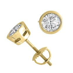 18K Yellow Gold Jewelry 2.0 ctw Natural Diamond Stud Earrings - WJA1291 - REF#509K8R