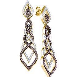 Genuine 1.51 CTW White & Cognac Diamond Earrings 10KT Yellow Gold - GD72962-REF#80M9F
