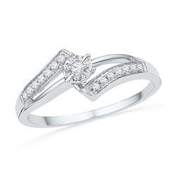 Genuine 0.10 CTW Diamond Ladies Ring 10KT White Gold - GD100902-REF#16G3M