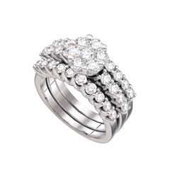 Genuine 2.0 CTW Diamond Bridal Set Ring 14KT White Gold - GD67210-REF#251Z8T