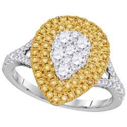 Genuine 1 CTW White & Yellow Diamond Ladies Ring 18KT White Gold - GD102761-REF#215M9F