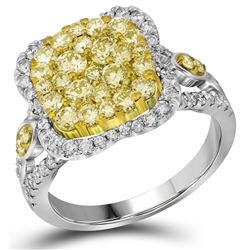 Genuine 1.61 CTW White & Yellow Diamond Bridal Ring 14KT White Gold - GD109467-REF#215S9V