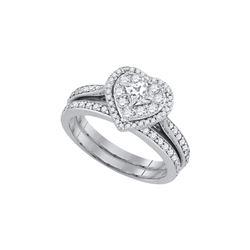 Natural 1.0 ctw Diamond Bridal Set Ring 14K White Gold - GD89766-REF#107F9M