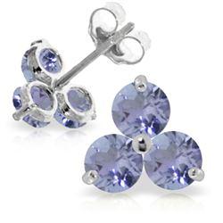 Genuine 1.50 ctw Tanzanite Earrings Jewelry 14KT White Gold - GG-2247-REF#25Z4N