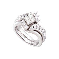 Natural 1.0 ctw Diamond Bridal Set Ring 14K White Gold - GD52997-REF#161M9G