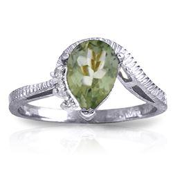 Genuine 1.52 ctw Green Amethyst & Diamond Ring Jewelry 14KT White Gold - GG-2983-REF#51F4Z