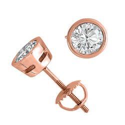 14K Rose Gold Jewelry 2.0 ctw Natural Diamond Stud Earrings - WJA1281 - REF#519G2A