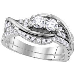 Genuine 1 CTW Diamond Bridal Set Ring 14KT White Gold - GD112188-REF#116W9G