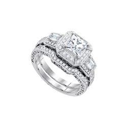Natural 1.75 ctw Diamond Bridal Set Ring 14K White Gold - GD84197-REF#305K8T