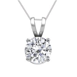 14K White Gold Jewelry 0.50 ct Natural Diamond Solitaire Necklace - WJA1093 - REF#115N5H
