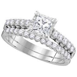Natural 1.0 ctw Diamond Bridal Set Ring 14K White Gold - GD106425-REF#223Y3X