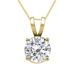 14K Yellow Gold Jewelry 0.75 ct Natural Diamond Solitaire Necklace - WJA1122 - REF#185Z6A