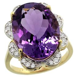 Natural 13.83 ctw amethyst & Diamond Engagement Ring 14K Yellow Gold - SC-R308021Y01-REF#124Y4X