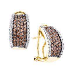 Genuine 1.51 CTW White & Cognac Diamond Earrings 14KT Yellow Gold - GD48476-REF#143R8H