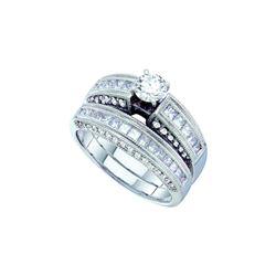 Natural 1.50 ctw Diamond Bridal Set Ring 14K White Gold - GD48441-REF#215T9Z