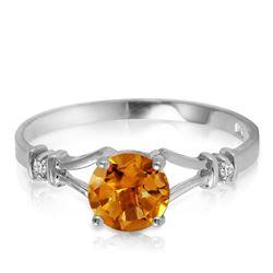 Genuine 1.02 ctw Citrine & Diamond Ring Jewelry 14KT White Gold - GG-2017-REF#28N3R