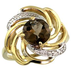 Natural 2.25 ctw smoky-topaz & Diamond Engagement Ring 14K Yellow Gold - SC-R297241Y07-REF#57Y8X