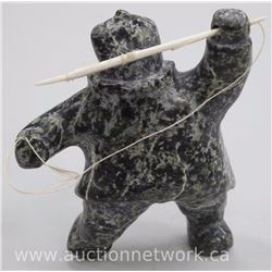 Original Stone Carving by Inuk Artist 'OOLOOPIE KILLIKTE' of Lake Harbour - 'Hunter' with Spear and