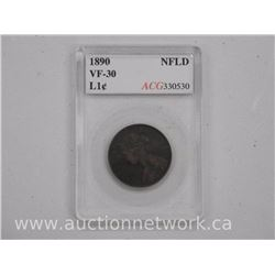 "1890 NFLD Large One Cent ACG Coin. ""VF30"" (er)"