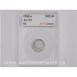 1945-C FLD Silver Five Cent Coins (SK) 'AU-53' 'ACG'