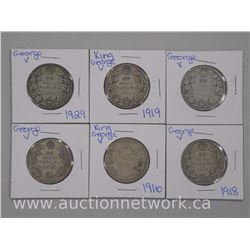 6x King George V Fifty Cent Coins. Early 1900s. (ATTN: 6 Times the bid price)