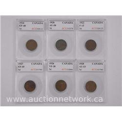 6x George V Canada One Cent (SXR) 1920, 1922, 1924, 1926, 1927, 1928 (F-EF- VF-AU) 'ACG' (ATTN: 6 Ti