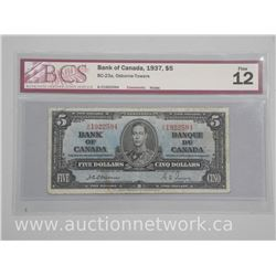 1937 Canada Five Dollar Note - Rare 'Osbourne-Towers' Signature. Fine 12 - 'BCS'