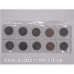 10x USA Large one Cent Coins, 1800s. (ATTN: 10 Times the bid price)