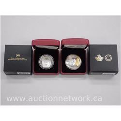 2x Royal Canadian Mint - HIGH TECH Coins - 'Moon Mask' and 'R.O.M.' with 23kt Gold Limited edition w