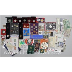 Box Lot - Mixed Coins, Stamps, Jewellery, Mint Sets, World Coins, Paper money, Sports Cards etc