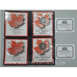 2x .9999 Fine Silver Maple leaf Coins in Folio - 1999 and 2002. (ATTN: 2 Times the bid price)