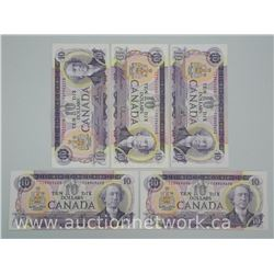 5x Bank of Canada Ten Dollar Note '1971' 'Uncirculated' (ATTN: 5 Times the bid price)