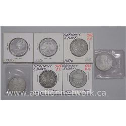 7x German Silver 5 Marks Coins (ATTN: 7 Times the bid price)